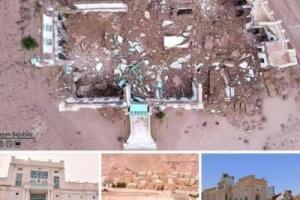 """انهيار قصر عميد الدان الحضرمي """"الكاف"""" بسبب فيضانات السيول في تريم .."""
